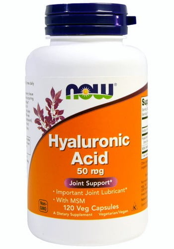 Гиалуроновая кислота Now Foods (Hyaluronic Acid With MSM), 50 мг, 120 капсул